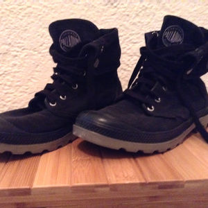Black Canvas Palladium Boots